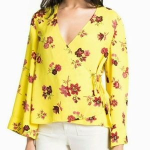 $345 A.L.C. Ray Top Linsey Floral Print Wrap Top